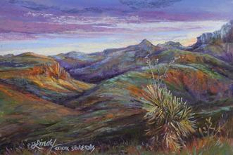 Marfa Light, miniature pastel landscape painting by Lindy C Severns, Pinto Canyon and Chinati Peak in the Texas borderlands