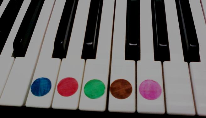 Colored Dots for Preschool Piano