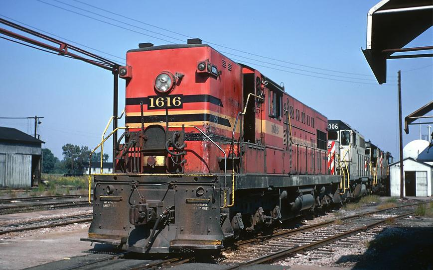 Original Norfolk Southern Baldwin Road Switcher AS-416 No. 1616 at Chesapeake, Virginia in old paint scheme in October of 1968. Photo by Roger Puta.