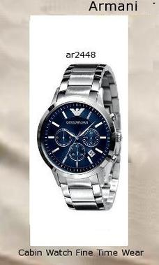 Watch Information Brand, Seller, or Collection Name Emporio Armani Model number AR2448 Part Number AR2448 Model Year 2016 Item Shape Round Dial window material type Mineral Display Type Analog Clasp Deployment Clasp Case material Stainless steel Case diameter 41 millimeters Case Thickness 11 millimeters Band Material Stainless steel Band length Men's Standard Band width 20 millimeters Band Color Silver Dial color Blue Bezel material Stainless steel Bezel function Stationary Calendar Date Special features Screw down crown, Shock resistant, Water Resistant Item weight 5.28 Ounces Movement Japanese-Quartz Water resistant depth 165 Feet,armani