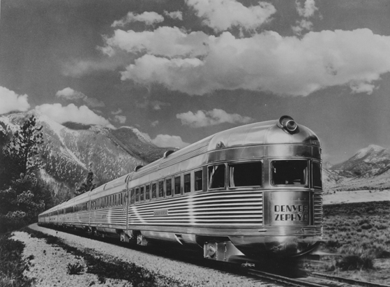 The CB&Q's Denver Zephyr with the Silver Flash observation car on the rear.