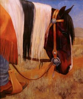 Paint horse painting with long mane and silver bit by Kim Corpany