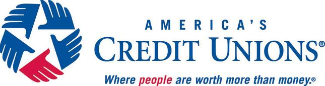 America's Credit Union Logo of 4 blue and 1 red hands forming a star with slogan of Where people are worth more than money