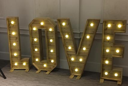 rustic 4ft love letter lights sweet dreams candy cart east sussex west sussex