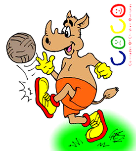 football cartoon rhino animal cartoon character