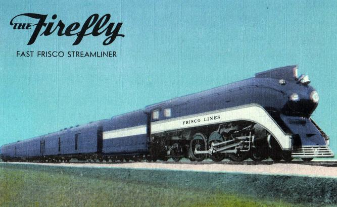 "The St. Louis-San Francisco's beautiful streamlined ""Firefly""."