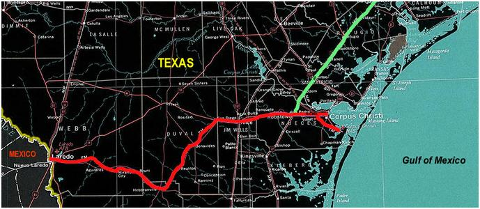 Texas-Mexican Railway Route Map