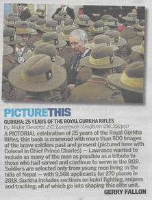 Review of 'Gurkha: 25 Years of The Royal Gurkha Rifles' in the Daily Mail on 11 October 2019