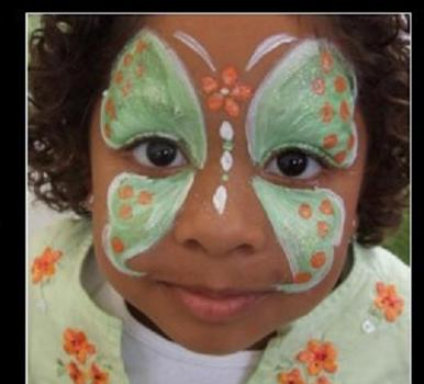 Butterfly face painting for kids and Halloween. Hire expert face painter