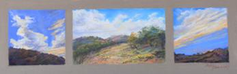 Morning, Noon and Night on the Ranch, miniature triptych plein aire pastel by Texas artist Lindy C Severns, Old Spanish Trail Studio, Fort Davis TX. Three tiny paintings on one panel.