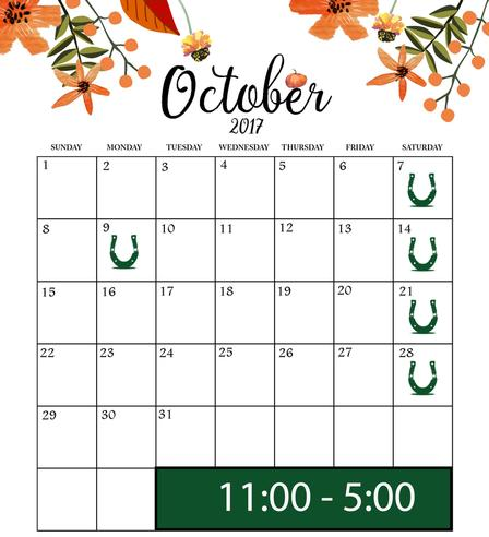 horse and buggy ride calendar