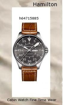 Watch Information Brand, Seller, or Collection Name Hamilton Model number H64715885 Part Number H64715885 Model Year 2011 Item Shape Round Dial window material type Anti reflective sapphire Display Type Analog Clasp Buckle Case material Stainless Steel Case diameter 45.4 millimeters Case Thickness 12 millimeters Band Material Calfskin Band length Mens-Standard Band width 22 millimeters Band Color Brown Dial color Grey Bezel material Stainless Steel Bezel function Stationary Calendar Day and date Special features Analog Item weight 7.04 Ounces Movement Automatic self wind Water resistant depth 660 Feet,hamilton watch