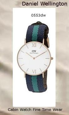 Product Specifications Watch Information Brand, Seller, or Collection Name Daniel Wellington Model number 0553DW Part Number 0553DW Model Year 2014 Item Shape Round Dial window material type Mineral Display Type Analog Clasp Buckle Case material Stainless steel Case diameter 36 millimeters Case Thickness 7 millimeters Band Material Nylon Band length Unisex Band width 20 millimeters Band Color multi Dial color White Bezel material Stainless steel Bezel function Stationary Special features Second hand Item weight 6.24 Ounces Movement Quartz Water resistant depth 99 Feet,daniel wellington