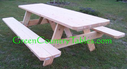 Picnic table and bench pricing 7 8ft 275 top picnic table attached benches unfinished 185 table and seperate benches 225 add 150 to have us finish it for you watchthetrailerfo
