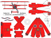 free paper airplane template of Fokker DrI (Red Baron)