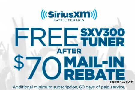 Free SiruisXM tuner after rebate