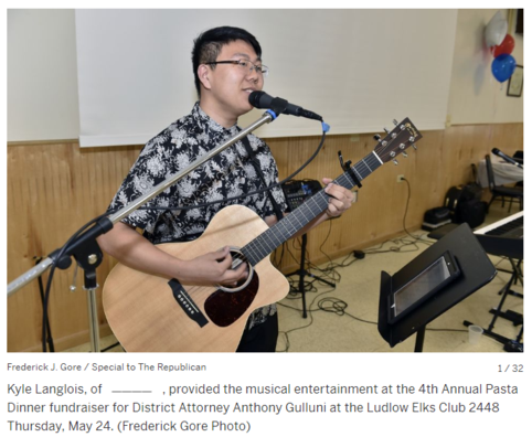 Kyle Langlois performs at the District Attorney Anthony Gulluni Fundraiser, Ludlow, MA