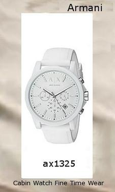 Product Specifications Watch Information Brand, Seller, or Collection Name Armani Exchange Model number AX1325 Part Number AX1325 Model Year 2011 Item Shape Round Dial window material type Mineral Display Type Analog Clasp Buckle Case material Resin Case diameter 44 millimeters Case Thickness 12 millimeters Band Material Silicone Band length Unisex Band width 22 millimeters Band Color White Dial color White Bezel material Resin Bezel function Stationary Item weight 1.1 Pounds Movement Analog quartz Water resistant depth 165 Feet,armani
