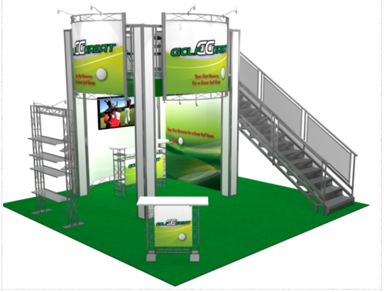 Great golf double deck exhibit booth back view.