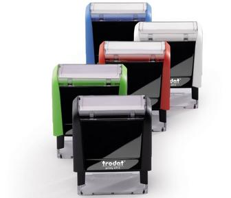 Self-inking deposit address stamps: black, blue, red, green, purple; custom logo.