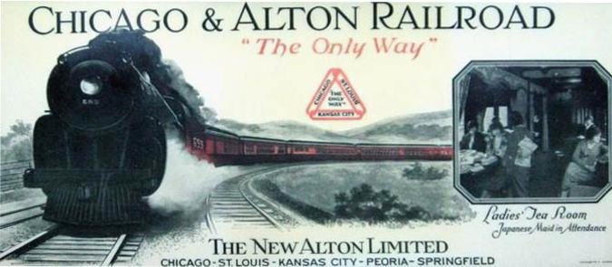 Promotional ink blotter for the re-equipped Alton Limited in 1924.