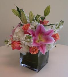 NB-6CM Lilies, Hydrangea, Stock, and Roses.
