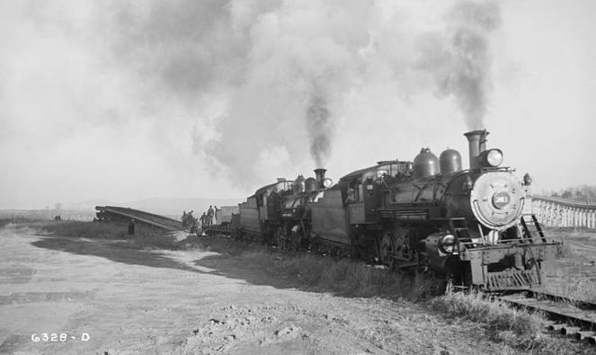 NC&StL steam locomotives provide the power for a Tennessee Valley Authority relocation project, circa 1938.