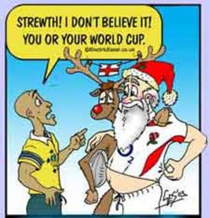 cartoon rugby world cup Australia 2003 George Gregan meets Santa