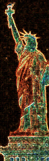 Statue of Liberty with inverted colors and bright gold outline on dark background