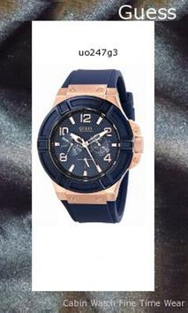 Watch Information Brand, Seller, or Collection Name GUESS Model number U0247G3 Part Number U0247G3 Model Year 2013 Item Shape Round Dial window material type Mineral Display Type Analog Clasp Hook Buckle Metal stamp NA Case material Rose Gold Case diameter 46 millimeters Case Thickness 13 millimeters Band Material Silicone Band length Men's Standard Band width 22 millimeters Band Color Blue Dial color Blue Bezel material Stainless steel Bezel function Stationary Calendar Date and month Item weight 4.16 Ounces Movement Quartz Water resistant depth 330 Feet