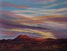 Peaceful, Easy Feeling Far West Texas pastel landscape by Big Bend Artist Lindy C Severns. Twin Peaks at sunset, Alpine TX