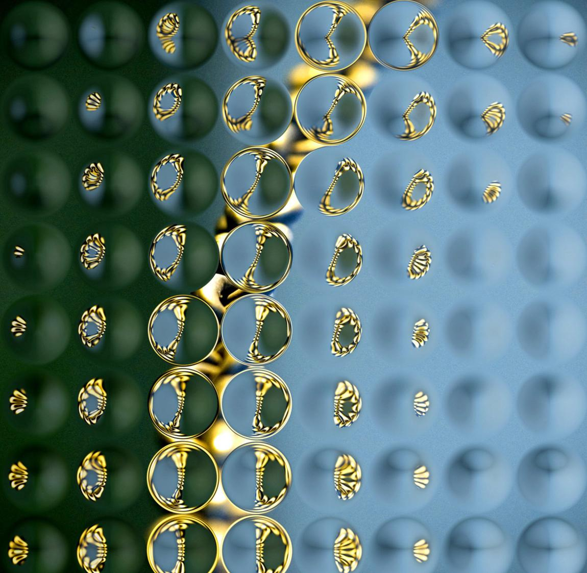 op-art photo, green and blue seen through glass with convex bubble-like circles in nine rows of eight, with some distorted yellow reflections especially in left-hand circles, with olive green border