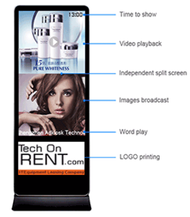 Hire vertical screen, rental digital advertising signage kiosk