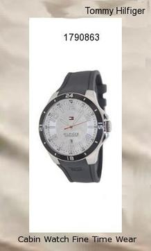 Watch Information Brand, Seller, or Collection Name Tommy Hilfiger Model number 1790863 Part Number 1790863 Model Year 2011 Item Shape Round Dial window material type Mineral Display Type Analog Clasp Buckle Case material Stainless steel Case diameter 44 millimeters Case Thickness 14 millimeters Band Material Silicone Band length Men's Standard Band width 30 millimeters Band Color Grey Dial color Grey Bezel material Stainless steel Bezel function Stationary Calendar Date Special features Luminous, measures-seconds Movement Quartz Water resistant depth 165 Feet