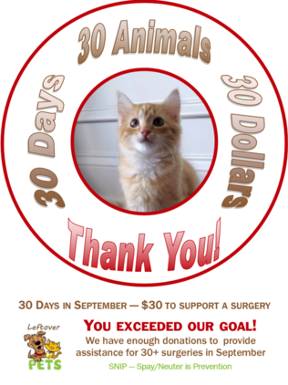 30 Animals 30 Days 30 Dollars Fundraiser Flyer. Donate to provide financial spay neuter assistance for 30 families in September. Links to leftoverpets.org Donation Page