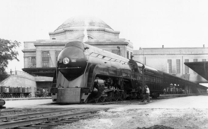 N&W Class K2 streamlined 4-8-2 No. 123 at Richmond, Virginia.