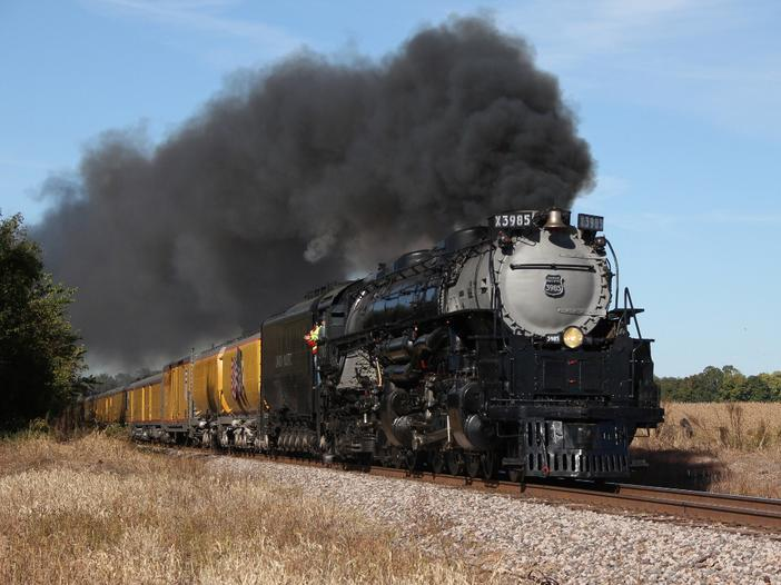 Union Pacific 3985 at Malta Bend, Missouri, October 4, 2010. Photo by Eddie Phillips, California, Missouri.