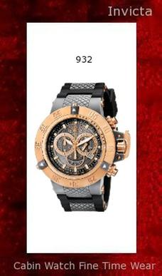Watch Information Brand, Seller, or Collection Name Invicta Model number 932 Part Number 0932 Model Year 2014 Item Shape Round Dial window material type Flame Fusion Display Type Analog Clasp Buckle Case material Plastic Case diameter 50 millimeters Case Thickness 17 millimeters Band Material Rubber Band length Mens-Standard Band width 30 millimeters Band Color Black Dial color Grey Bezel material Stainless Steel Bezel function Unidirectional Calendar Date Special features Luminous, Screw down crown, Chronograph, measures-seconds Item weight 8.80 Ounces Movement Swiss quartz Water resistant depth 200 Meters
