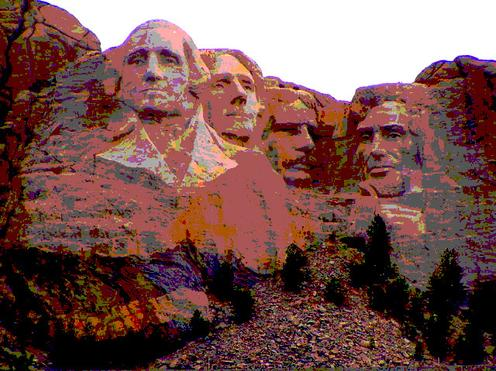 Mount Rushmore photoshopped to be colorful