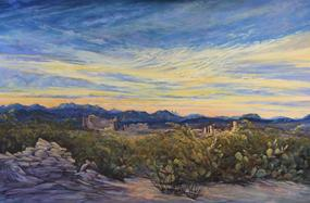 Sunrise Wakes the Ruins, oil by Lindy C Severns