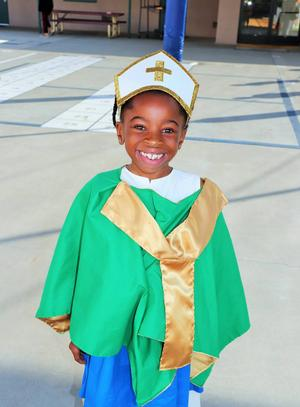 St. Patrick visits Catholic school in Hanford