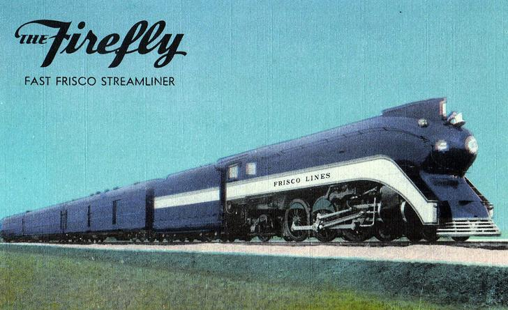 "A postcard depiction of a Streamlined Class 1018 pulling the Frisco ""Firefly"" passenger train."