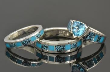 Turquoise engagement ring and turquoise wedding ring set by Hileman