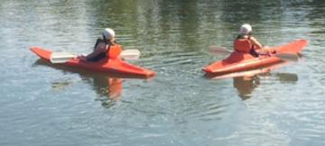 sit-on-top kayaks on the flatwater of the James River in Richmond, VA (RVA). These sit on top kayaks can also be taken on the whitewater section of the James with class I-II rapids