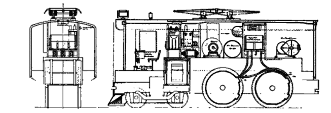 A line drawing of the PRR Odd D locomotive.