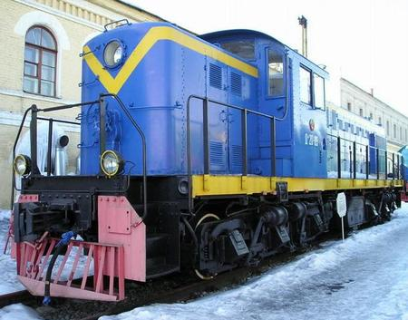 Former Soviet Railways Да20-09 (DA20-09) on exhibit at the railway museum in former Varshavsky terminal, Saint Petersburg, Russia. Originally built by ALCO as a model RSD-1 in 1944 and exported to the USSR.