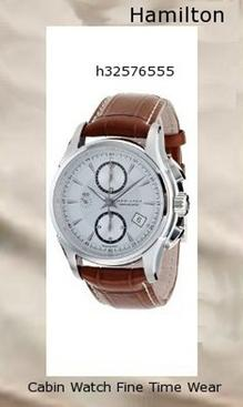 Watch Information Brand, Seller, or Collection Name Hamilton Model number H32576555 Part Number H32576555 Item Shape Round Dial window material type Scratch Resistant Sapphire Display Type Chronograph Clasp Buckle Case material Stainless steel Case diameter 41 millimeters Case Thickness 15 millimeters Band Material Calfskin Band length Men's Short Band width 22 millimeters Band Color Brown Dial color Silver Bezel material Stainless steel Calendar Day and date Special features Chronograph Movement Automatic,hamilton watch