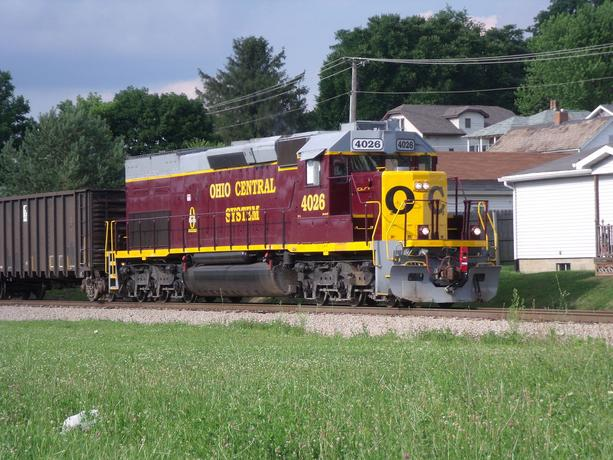 Ohio Central SD40T-2 in South Zanesville, Ohio.