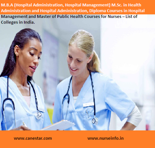 M.B.A (Hospital Administration, Hospital Management) M.Sc. in Health Administration and Hospital Administration, Diploma Courses in Hospital Management and Master of Public Health Courses for Nurses – List of Colleges in India.