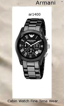 Emporio Armani Men's AR1400 Ceramic Black Chronograph Dial Watch,armani